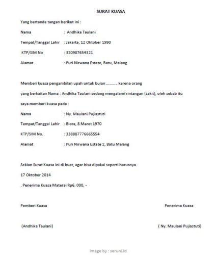 contoh surat kuasa pengambilan gaji 187 pandaibesi