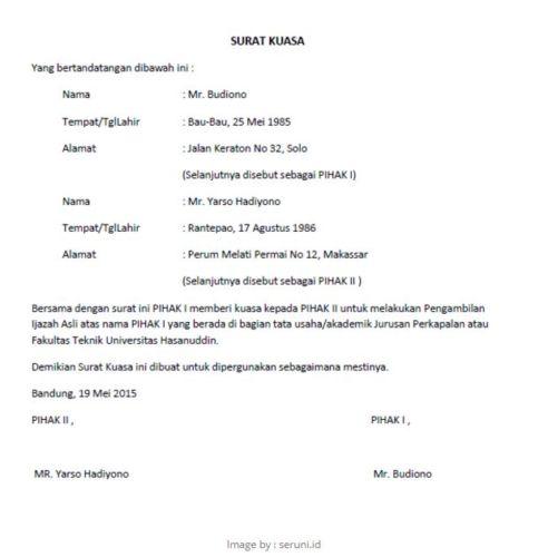 Contoh Surat Kuasa Pengambilan Bpkb Motor Pdf