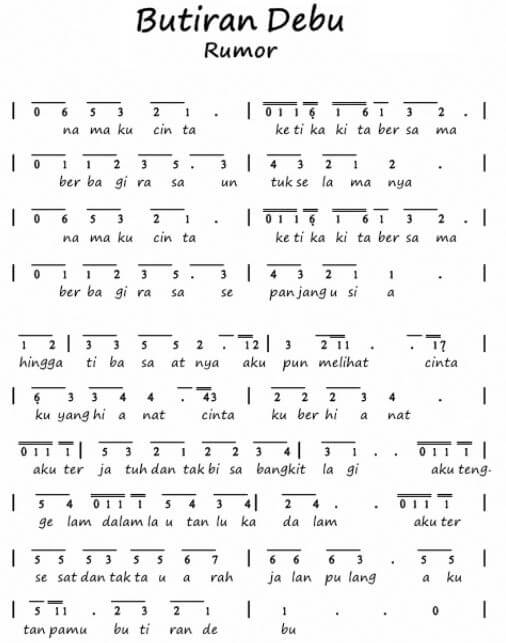 not angka lagu butiran debu