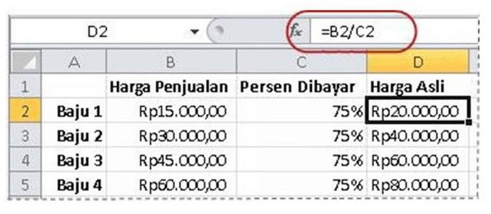 Menghitung jumlah berdasarkan jumlah lain dan persentase