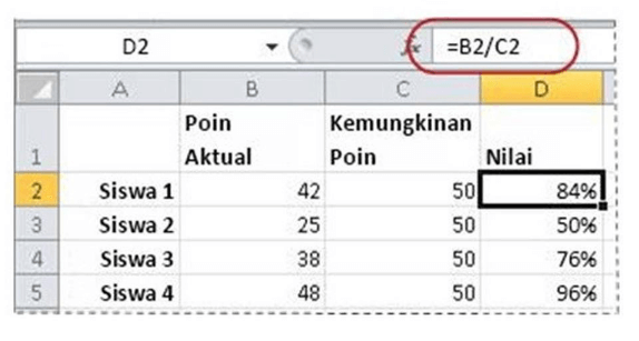 Menghitung persentase berdasarkan dua jumlah