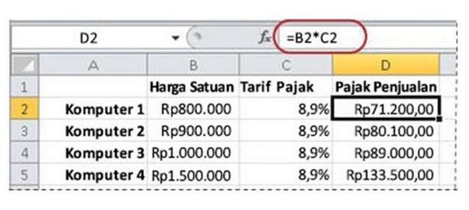 Rumus Menghitung jumlah berdasarkan persentase